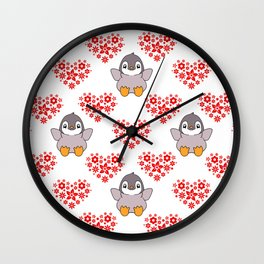 Cute happy cheerful little baby penguins cartoon, red floral hearts hearts seamless white pattern Wall Clock