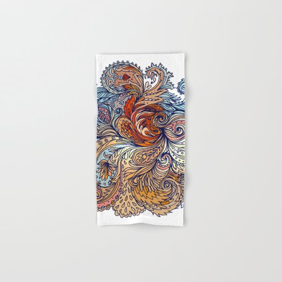 Brown Floral Indian Pattern Hand & Bath Towel