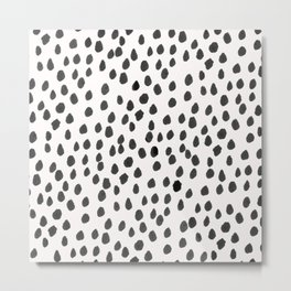 Hand painted monochrome dot pattern Metal Print