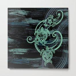 Abstract Tribal Turtles Metal Print