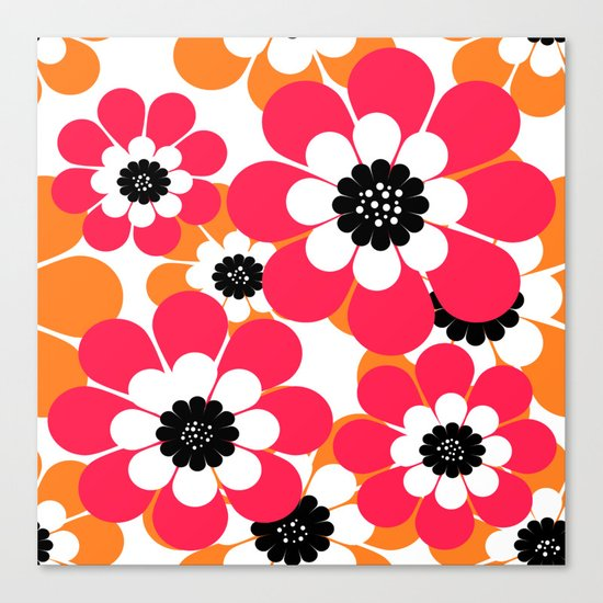 The floral pattern . red and yellow on a white background . Canvas Print