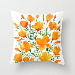 Watercolor California poppies Throw Pillow