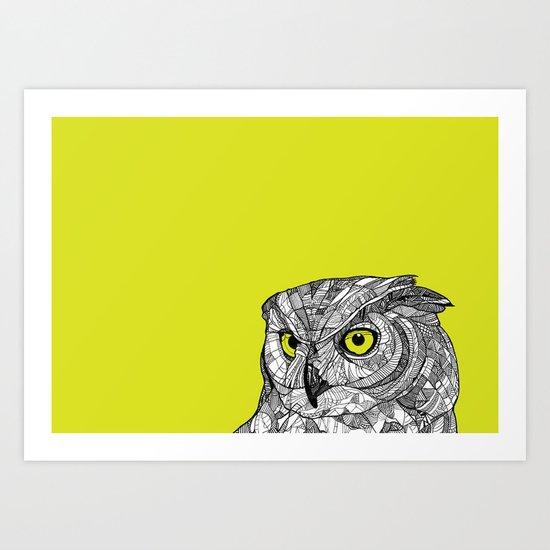 Green Eyed Owl Art Print