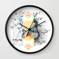 fifth element Wall Clocks featuring FIFTH SKY by D'ANGELO ATENEA