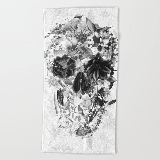 New Skull Light B&W Beach Towel