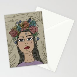 Trying - Purple, Girl Portrait,  Flower  Illustration Stationery Cards