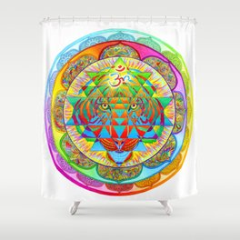 Inner Strength Psychedelic Tiger Sri Yantra Mandala Shower Curtain
