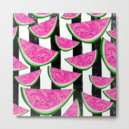 Stripey Watermelon Crush Metal Print