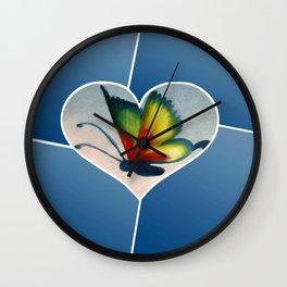 Butterfly Love - Blue Wall Clock