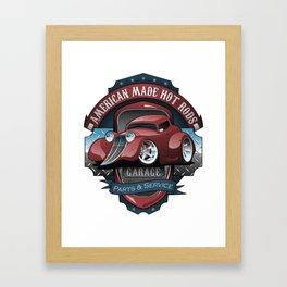 American Hot Rods Garage Vintage Car Sign Cartoon Framed Art Print