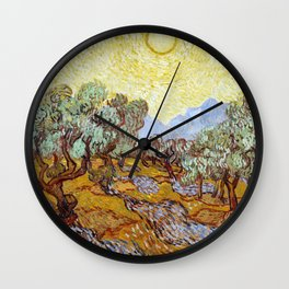 1889-Vincent van Gogh-Olive Trees with yellow sky and sun-73,66x92,71 Wall Clock