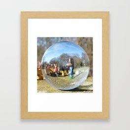Easter Bunny school, Glass Ball Photography Framed Art Print