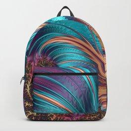 Blue Purple Feather Fractal Artistic Backpack
