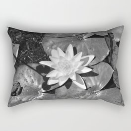 The frog and the lily -- Black and white frog with a white lilyflower -- Normandy -- France --  Rectangular Pillow