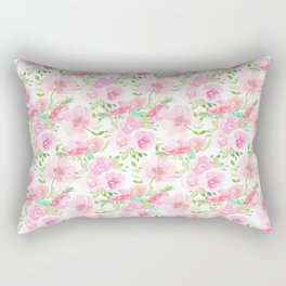 Blush Pink Florals Rectangular Pillow