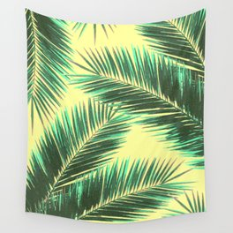 Tropical Palm Leaf Pattern 3 - Tropical Wall Art - Summer Vibes - Modern, Minimal - Green, Beige Wall Tapestry