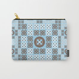Turquoise Floral Pattern Carry-All Pouch