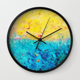 THE DIVIDE - Stunning Bold Colors, Ocean Waves Sun, Modern Beach Chic Theme Abstract Painting Wall Clock