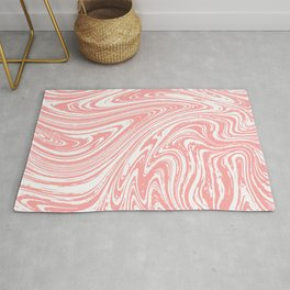 Coral Pink & White Marble Texture - Mix & Match With Simplicity of Life Rug