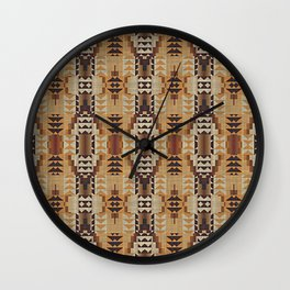 Orange Khaki Dark Caramel Coffee Brown Rustic Native American Indian Mosaic Pattern Wall Clock