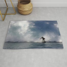 Surfing At The Wedge In Newport Beach, Califonia Rug