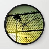 santa monica Wall Clocks featuring Santa Monica by Nicole Dupee