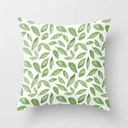 Watercolor Spring Leaves Throw Pillow
