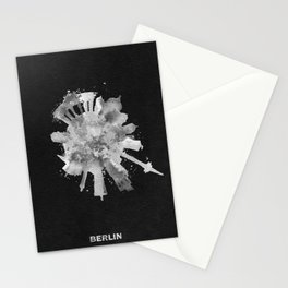 Berlin, Germany (Deutschland) Black and White Skyround / Skyline Watercolor Painting (Inverted Ver.) Stationery Cards
