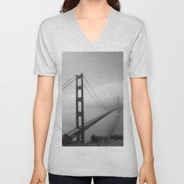 The Golden Gate Bridge In A Mist Unisex V-Neck