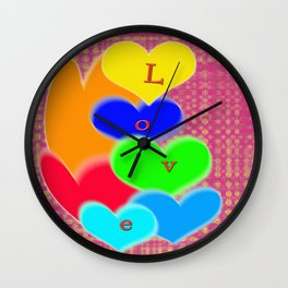 coloured love hearts Wall Clock