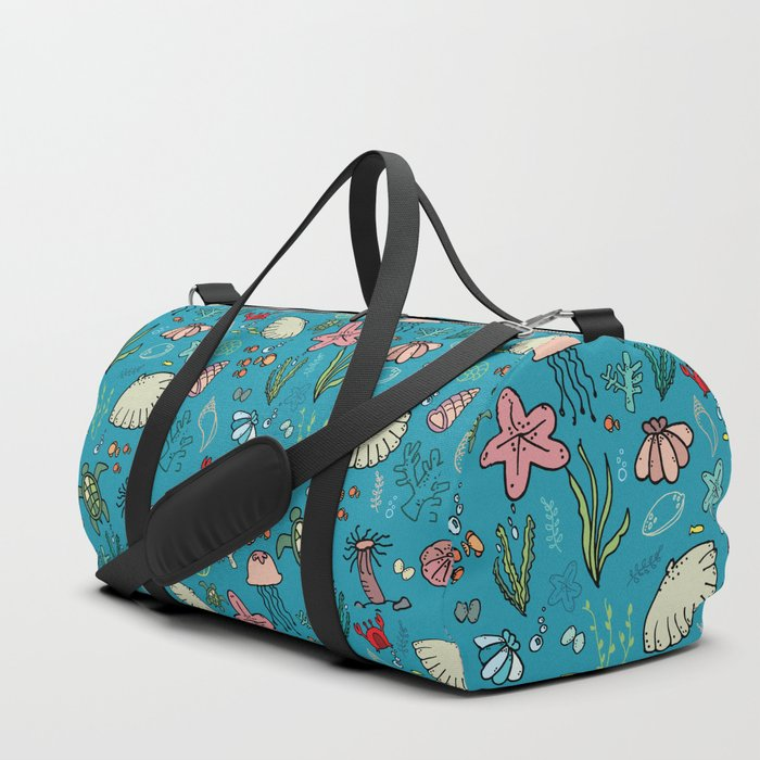 Beach and underwater pattern - fish and turtles and sea shells, oh my! Duffle Bag