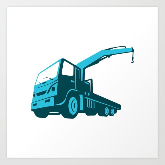 truck crane cartage hoist retro Art Print