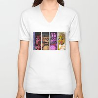 fnaf V-neck T-shirts featuring Five nights at Freddy's by Garvals
