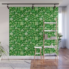 Lucky Green Watercolour Shamrock Pattern Wall Mural