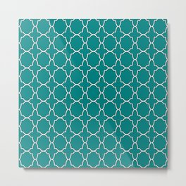 Teal Green Quatrefoil Pattern Metal Print