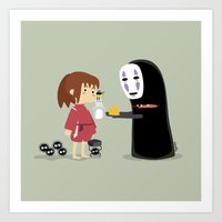 chihiro Art Prints featuring Chihiro & NoFace by solostudio