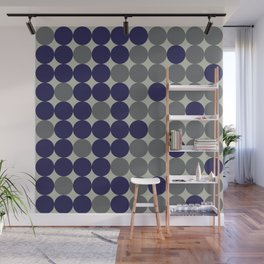 Dots bricks in deep blue and gray Wall Mural