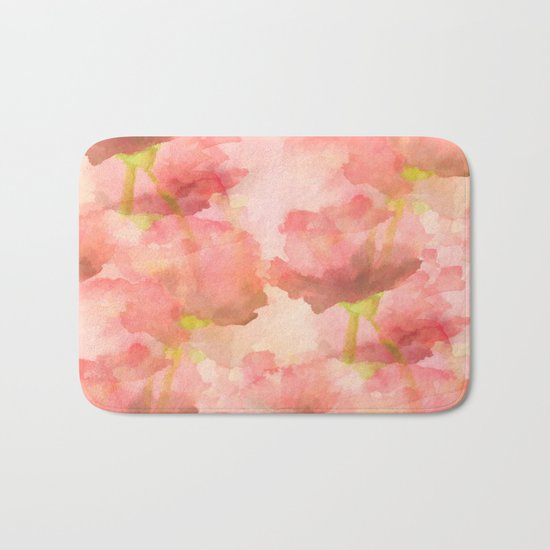 Delicate Pink Watercolor Floral Abtract Bath Mat
