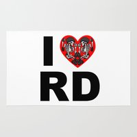 roller derby Area & Throw Rugs featuring I heart roller derby by Andrew Mark Hunter