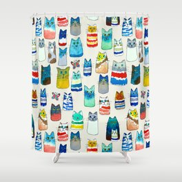 Lots of Watercolor Kitty Cats Shower Curtain