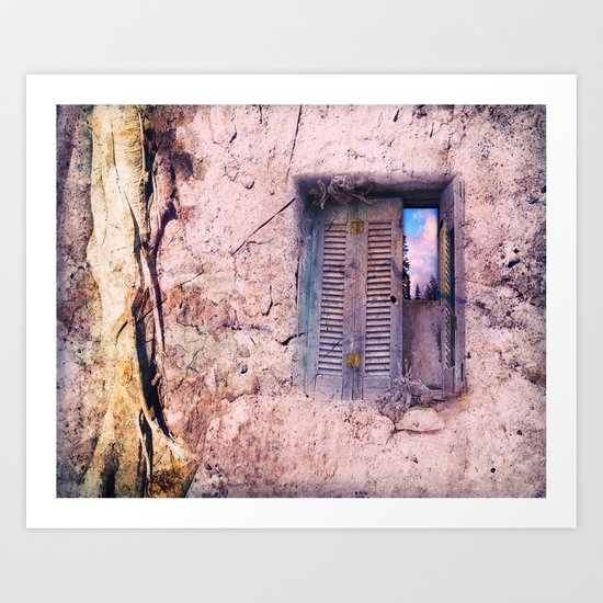 SOUL WINDOW - conceptual composing with old wall and open window Art Print