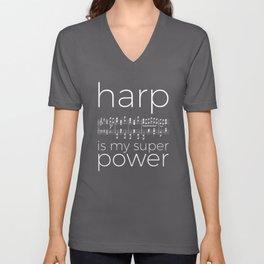 Harp is my super power (2) (black) Unisex V-Neck