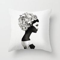black cat Throw Pillows featuring Marianna by Ruben Ireland