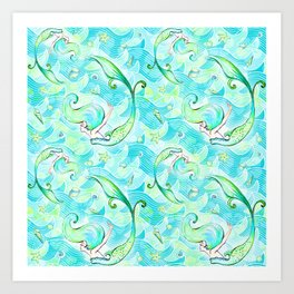 Mermaid Pattern 03 Art Print