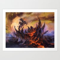 magic the gathering Art Prints featuring Lavaclaw Reaches - Magic: The Gathering by vmeignaud