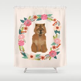 chowchow dog floral wreath dog gifts pet portraits Shower Curtain