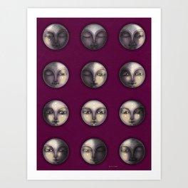 moon phases on dark purple Art Print