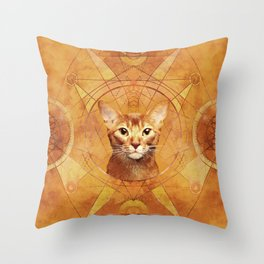 Abyssinian Cat Sacred Geometry Digital Art Throw Pillow