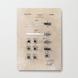 patent art Wolcott Toothbrush 1938 Metal Print