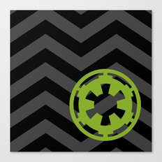 Imperial Cog on Black and Gray Chevrons Canvas Print